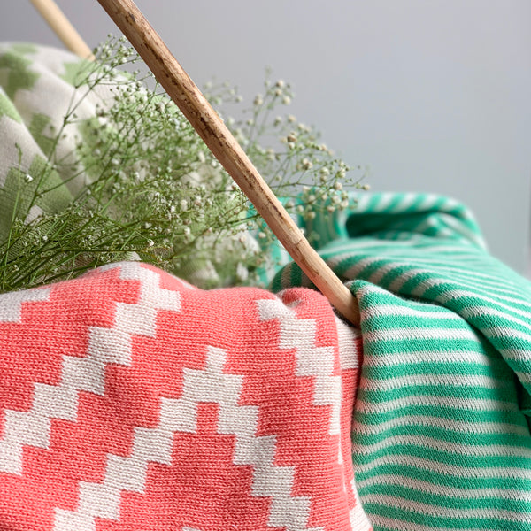 SPRING Stripe Knitted Throw Blanket - Jade Green white - Nestasia Home Decor