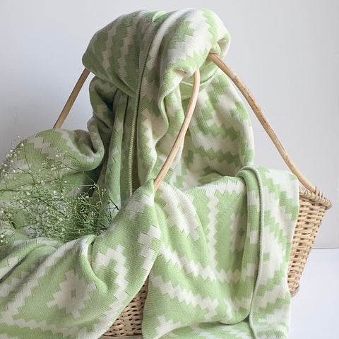 Homey Knitted Throw Blanket -  100% Cotton - Green Natural