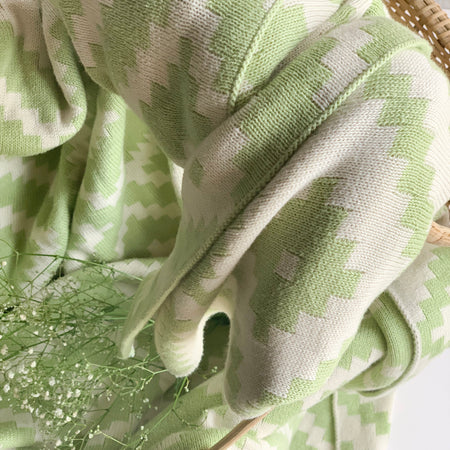 Homey Knitted Throw Blanket - Green Natural