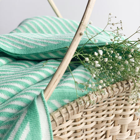 Nestasia Spring Stripe Knitted Throw Blanket -  100% Cotton - Jade Green white