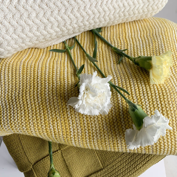 Dawn Knitted Throw Blanket - Yellow Natural - Nestasia Home Decor
