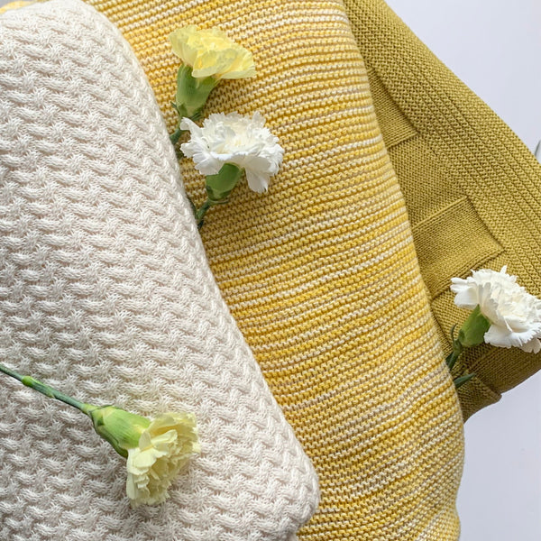 Dawn Knitted Throw Blanket -  100% Cotton -Yellow Natural