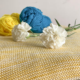 Dawn Knitted Throw Blanket - Yellow Natural