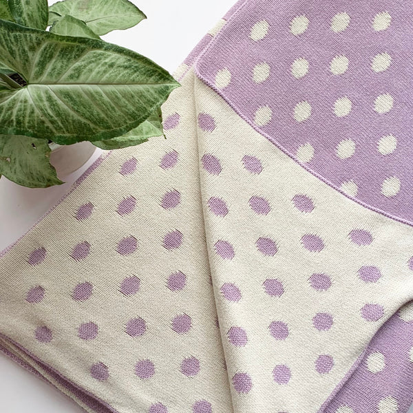 Dottie Knitted Throw Blanket - Lavender Natural - Nestasia Home Decor