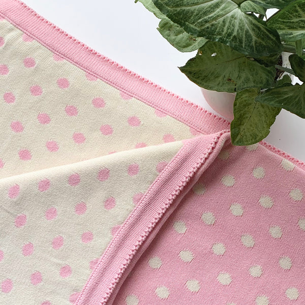 Dottie Knitted Throw Blanket -  100% Cotton - Light Pink
