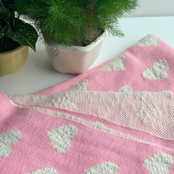Heart Knitted Throw Blanket -  100% Cotton - Textured - Light Pink Natural