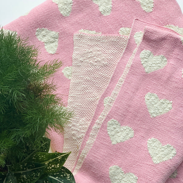 Nestasia Heart Knitted Throw Blanket -  100% Cotton - Textured - Light Pink Natural
