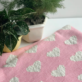 Heart Knitted Throw Blanket - Textured Light Pink Natural
