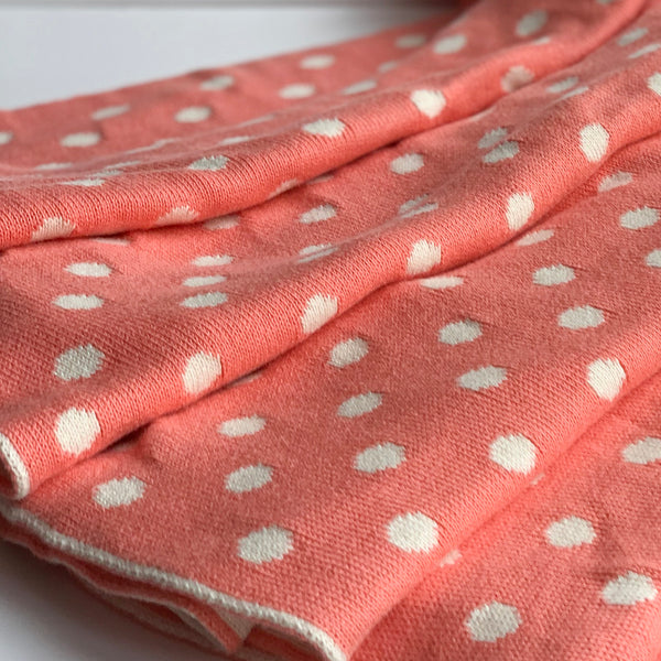 Dottie Knitted Throw Blanket - French Pink Peach Natural White