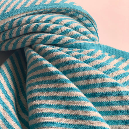 Nestasia Cirrus Stripe Knitted Throw Blanket -  100% Cotton - Aqua blue white