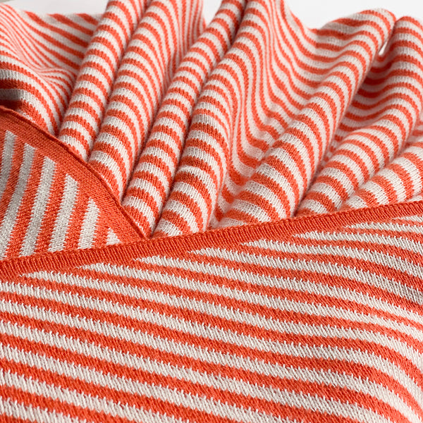 SCARLET Stripe Knitted Throw Blanket - Peach Pink white - Nestasia Home Decor