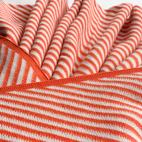 Nestasia Scarlet Stripe Knitted Throw Blanket -  100% Cotton - Peach Pink white