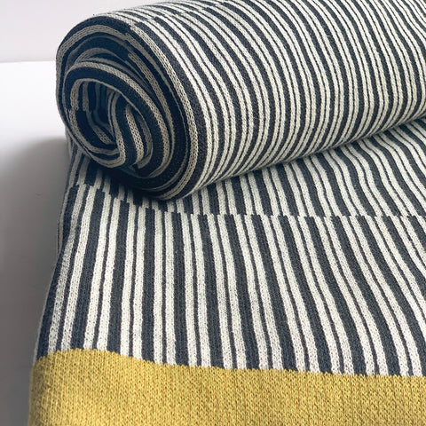 Twilight Stripe Knitted Throw Blanket -  100% Cotton - Dark Grey Rifle Green White Natural