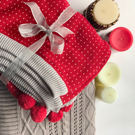 Cherry Knitted Throw Blanket with Pom Poms -  100% Cotton - Two Sided - Red Light Grey Natural