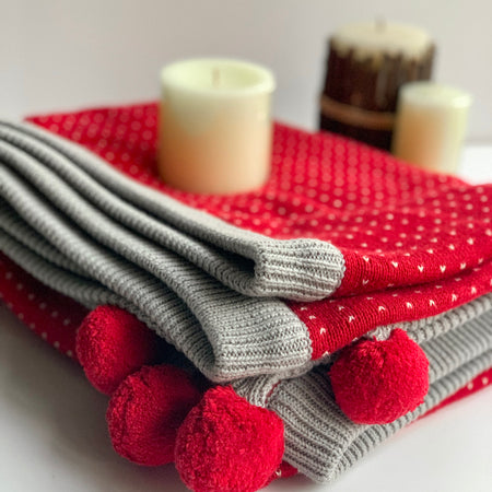 Nestasia Cherry Knitted Throw Blanket -  100% Cotton - Two Sided - Red Light Grey Natural