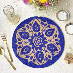 BEADS Mandala Jute Table Mat- Navy Blue