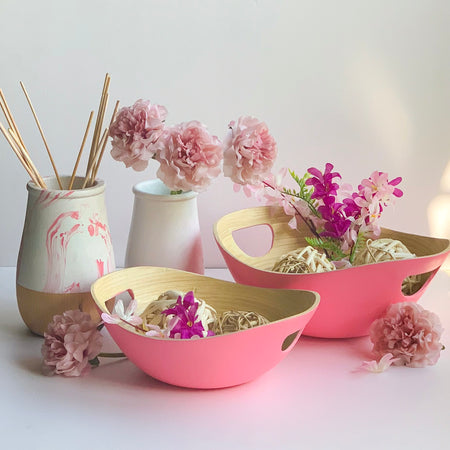 PASTEL Bamboo Bowl with Handle - Set of 2 - Pink - Matte