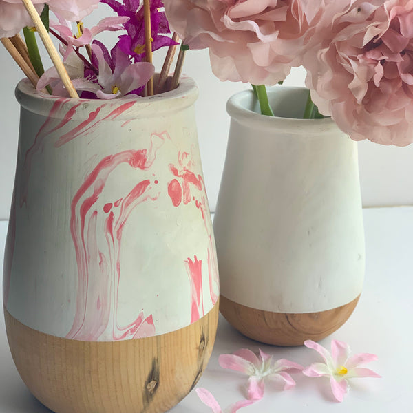 JARDIN Vase - Set of 2 - White & Pink Swirl