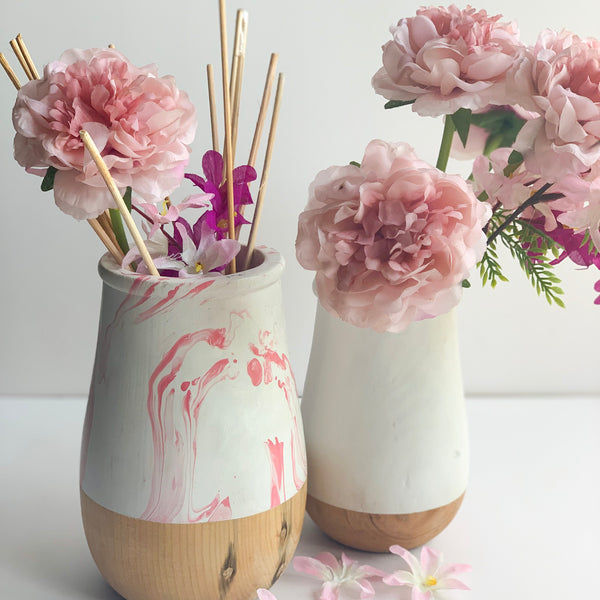 JARDIN Vase - Set of 2 - White & Pink Swirl - Nestasia Home Decor
