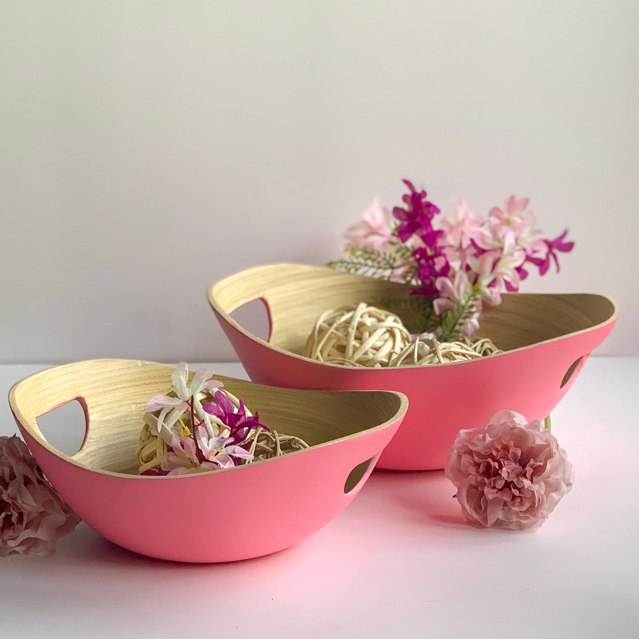 PASTEL Bamboo Bowl with Handle - Set of 2 - Pink - Matte - Nestasia Home Decor