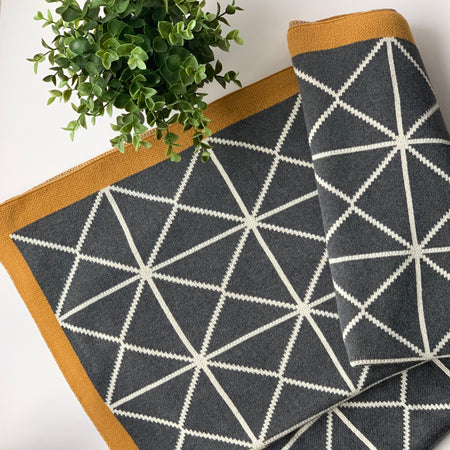 Nestasia Space Knitted Throw Blanket -  100% Cotton - triangle pattern - Dark Grey Rifle Green Natural