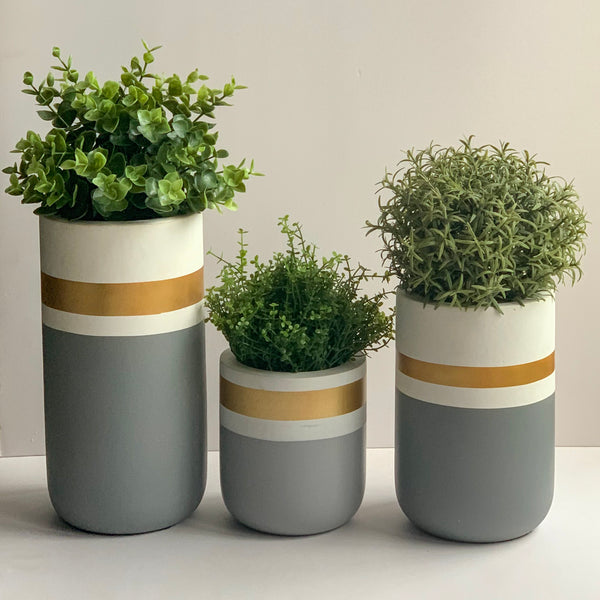 CHATEAU Vase set of 3 - Grey, Gold & White