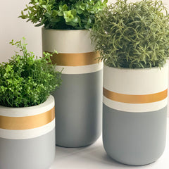 CHATEAU Vase set of 3 - Grey, Gold & White - Nestasia Home Decor