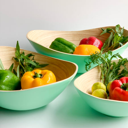 PASTEL Bamboo Bowl - Set of 3 - Glossy Mint Green