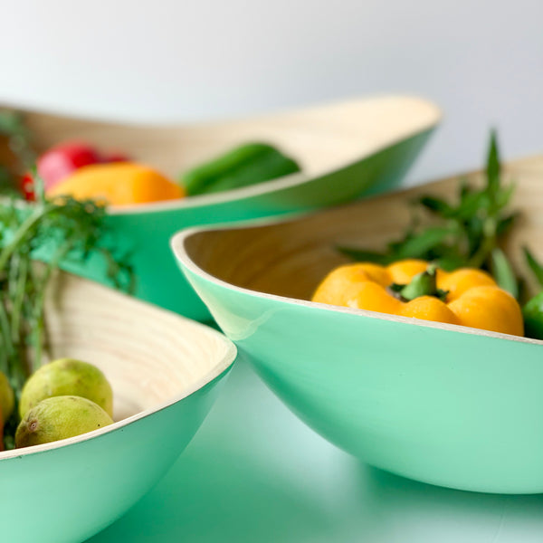 PASTEL Bamboo Bowl - Set of 3 - Glossy Mint Green - Nestasia Home Decor