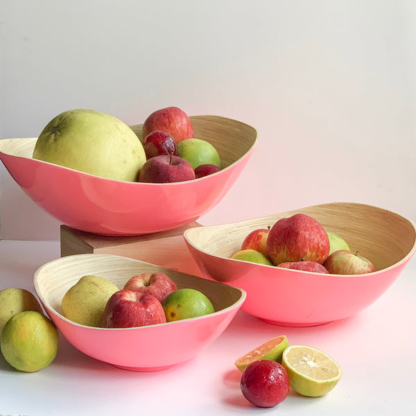 PASTEL Bamboo Bowl - Set of 3 - Glossy Pink - Nestasia Home Decor