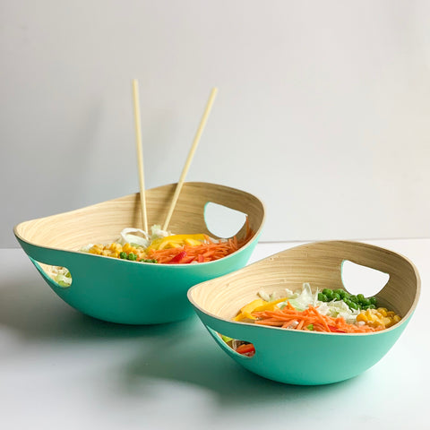 PASTEL Bamboo Bowl with Handle - Set of 2 - Mint Green