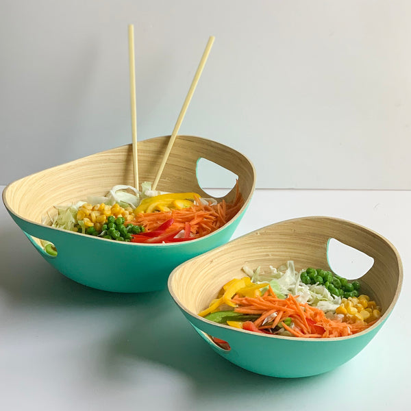 PASTEL Bamboo Bowl with Handle - Set of 2 - Mint Green - Nestasia Home Decor