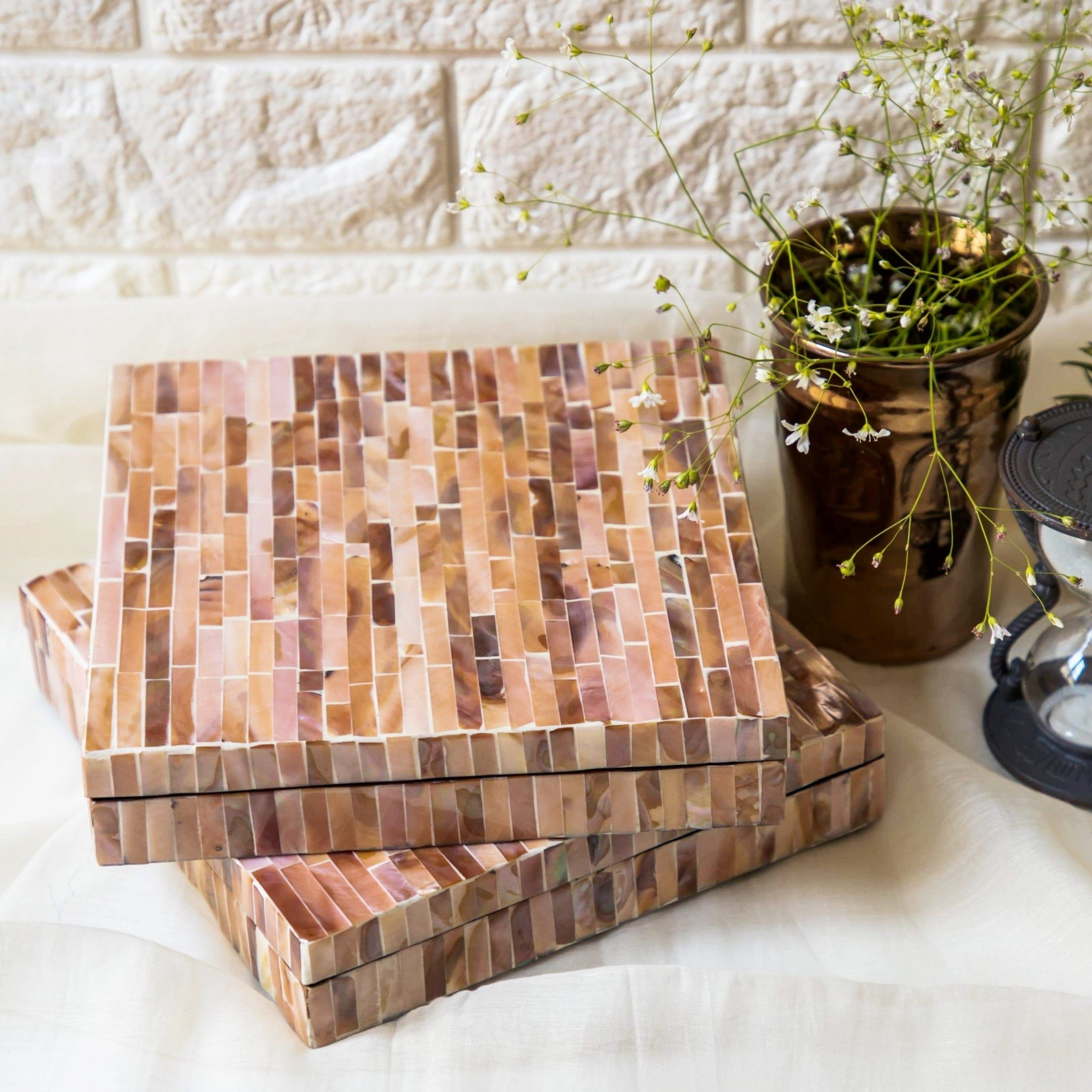 OCEAN Mother Of Pearl Square Box-Rose Gold - Nestasia Home Decor
