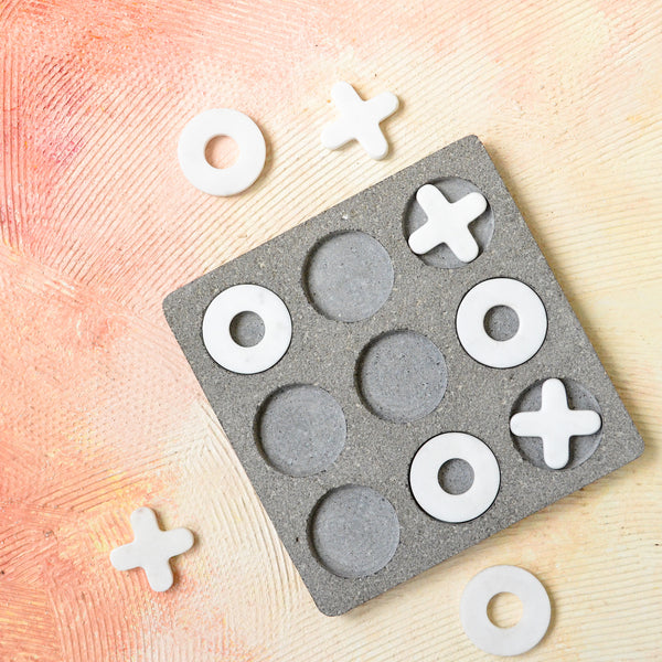 TROPICAL Kona Stone Marble Knots & Crosses Game - Grey White