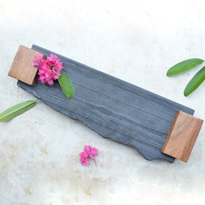 Lava Stone & Wooden Serving Platter