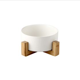 MERRY Bowl with wooden stand - White
