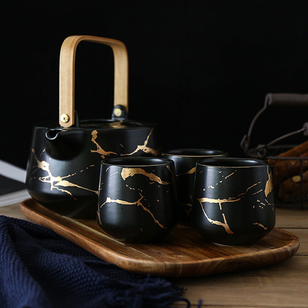 Marble Black Gold Tea Set