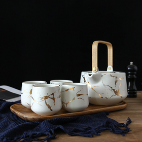 Marble White Gold Tea Set