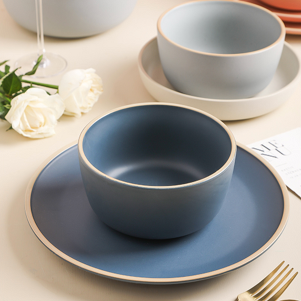 Navy Blue Ceramic Salad Bowl