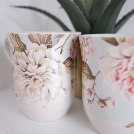 mug set of 4 with floral print
