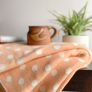 Nestasia Dottie Knitted Throw Blanket -  100% Cotton - creamy orange natural