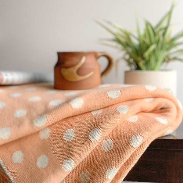 Dottie Knitted Throw Blanket - Creamy Orange Natural - Nestasia Home Decor