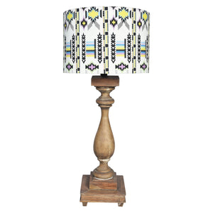 GYPSY Wooden lamp - Cream & Black Boho Pattern Shade - Nestasia Home Decor