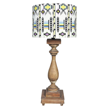GYPSY Wooden lamp- Cream & Black Print Shade