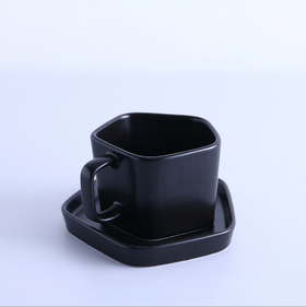 Pentagon Mug with Saucer Black
