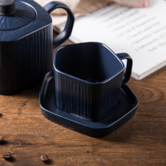 Pentagon Mug with Saucer Blue