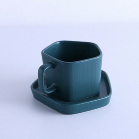Pentagon Mug with Saucer Midnight Green