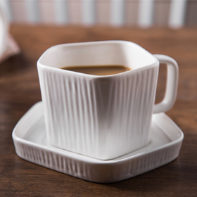 Pentagon Mug with Saucer White