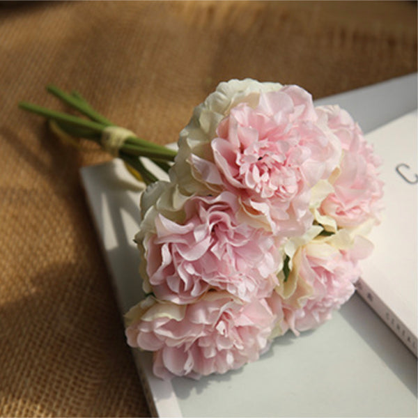 Artificial Flower Bunch Peony Pink Peach