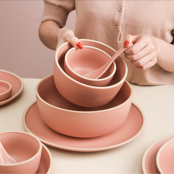 Pink Ceramic Stone Serving Bowl